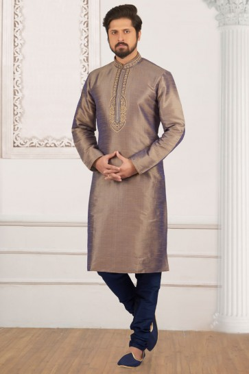Excellent Silver Banarasi Silk Embroidered Party Wear Kurta Pajama