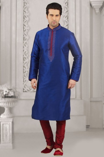 Admirable Blue Banarasi Silk Embroidered Designer Kurta Pajama