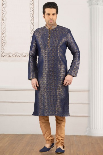 Gorgeous Blue Jacquard and Silk Embroidered Function Wear Kurta Pajama