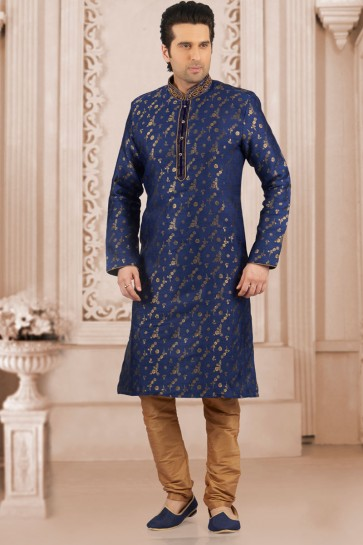Desirable Blue Jacquard and Silk Embroidered Function Wear Kurta Pajama