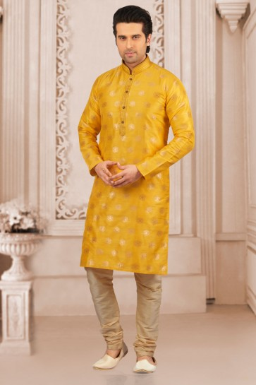 Classic Yellow Jacquard and Silk Function Wear Kurta Pajama