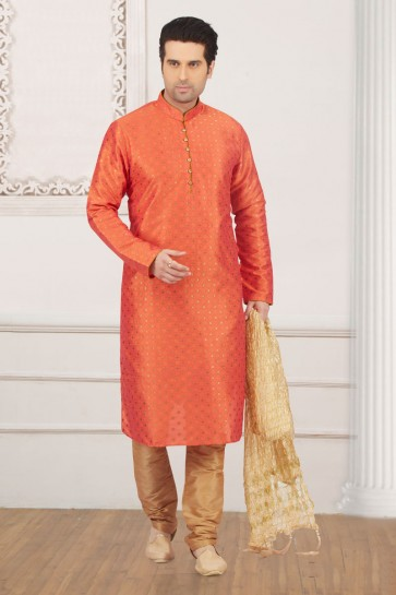 Supreme Orange Jacquard and Silk Function Wear Kurta Pajama