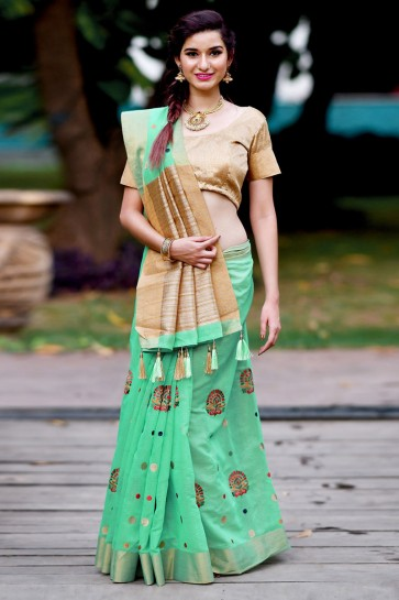Desirable Turquoise Banarasi Silk Zari Work Saree With Banarasi Silk Blouse