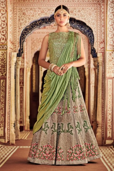 Pretty Beige Embroidered Silk Designer Lehenga Choli With Silk Dupatta