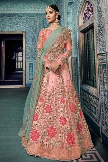 Ultimate Pink Embroidered Net Designer Lehenga Choli With Net Dupatta