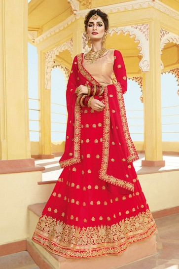 Graceful Red Georgette Embroidered Designer Lehenga Choli With Nazmin Dupatta