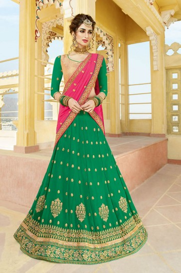 Admirable Green Georgette Embroidered Designer Lehenga Choli With Nazmin Dupatta