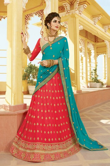 Classic Peach Georgette Embroidered Designer Lehenga Choli With Nazmin Dupatta