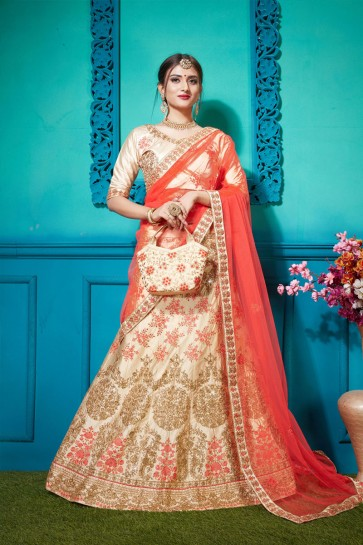 Excellent Cream Silk Embroidered Designer Lehenga Choli With Net Dupatta