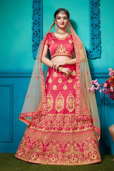 Beautiful Pink Silk Embroidered Designer Lehenga Choli With Net Dupatta