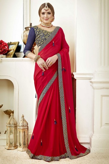 Admirable Red Fancy Fabric Lace Work Party Wear Saree With Silk Blouse
