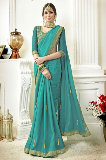 Beautiful Sky Blue Fancy Fabric Lace Work Party Wear Saree With Silk Blouse