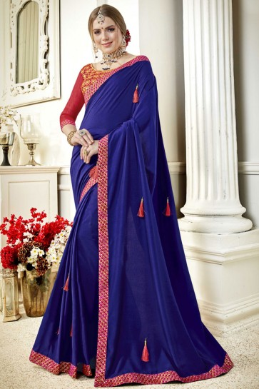 Gorgeous Navy Blue Fancy Fabric Lace Work Party Wear Saree With Silk Blouse