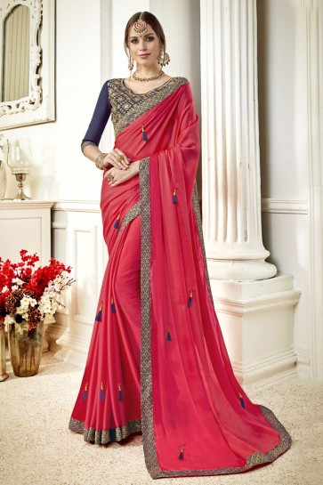 Pretty Magenta Fancy Fabric Lace Work Party Wear Saree With Silk Blouse
