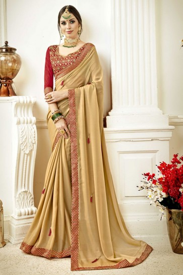 Supreme Golden Fancy Fabric Lace Work Party Wear Saree With Silk Blouse