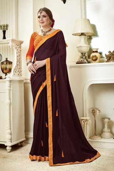Graceful Maroon Fancy Fabric Lace Work Party Wear Saree With Silk Blouse