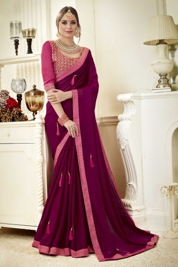 Lovely Purple Fancy Fabric Lace Work Party Wear Saree With Silk Blouse