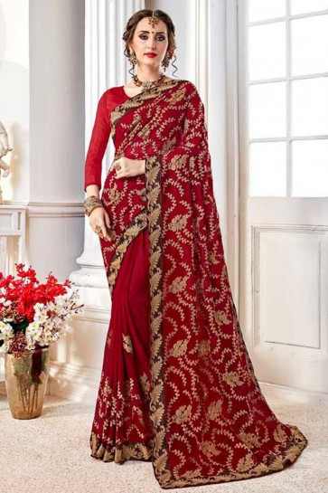 Admirable Red Fancy Fabric Embroidered Designer Saree With Fancy Fabric Blouse