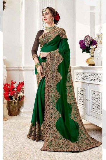 Ultimate Green Fancy Fabric Embroidered Designer Saree With Fancy Fabric Blouse