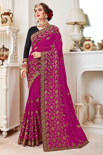 Beautiful Magenta Fancy Fabric Embroidered Designer Saree With Fancy Fabric Blouse