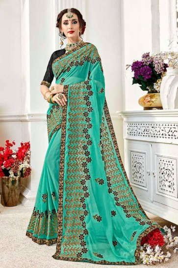 Graceful Turquoise Fancy Fabric Embroidered Designer Saree With Fancy Fabric Blouse