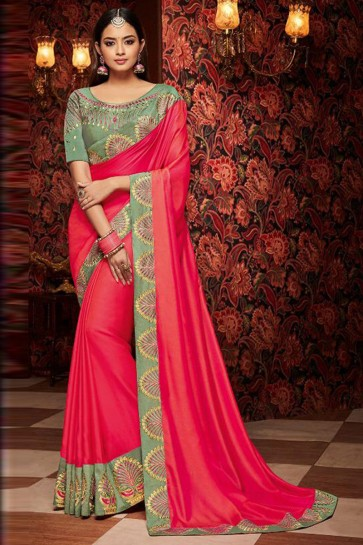 Ultimate Pink Embroidered Fancy Fabric Designer Saree With Fancy Fabric Blouse