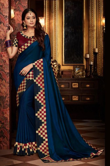 Beautiful Blue Embroidered Fancy Fabric Designer Saree With Fancy Fabric Blouse