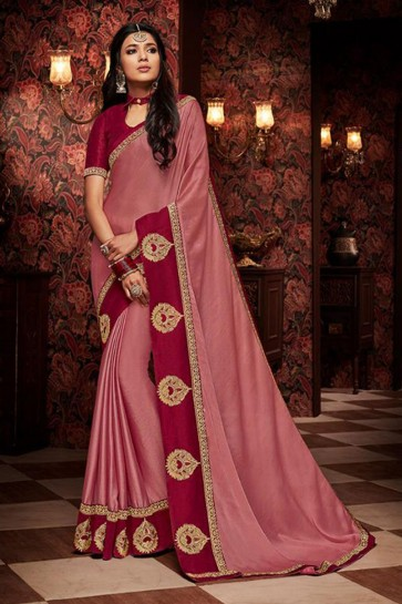 Charming Pink Embroidered Fancy Fabric Designer Saree With Fancy Fabric Blouse