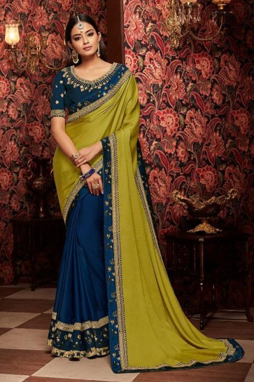 Classic Blue and Mehendi Green Embroidered Fancy Fabric Designer Saree With Fancy Fabric Blouse
