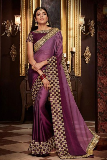 Pretty Purple Fancy Fabric Designer Saree With Fancy Fabric Blouse