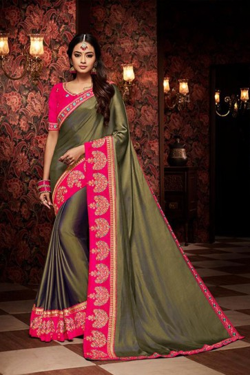 Desirable Mehendi Green Embroidered Fancy Fabric Designer Saree With Fancy Fabric Blouse