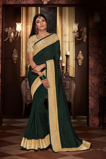 Optimum Green Embroidered Fancy Fabric Designer Saree With Fancy Fabric Blouse