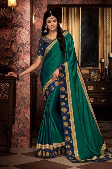 Excellent Green Embroidered Fancy Fabric Designer Saree With Fancy Fabric Blouse