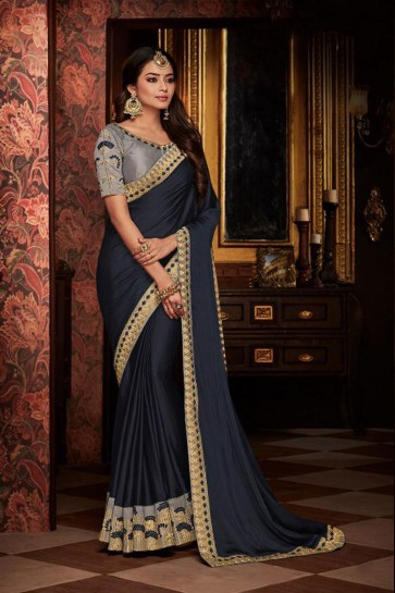 Marvelous Navy Blue Embroidered Fancy Fabric Designer Saree With Fancy Fabric Blouse