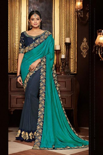 Gorgeous Navy Blue and Turquoise Embroidered Fancy Fabric Designer Saree With Fancy Fabric Blouse