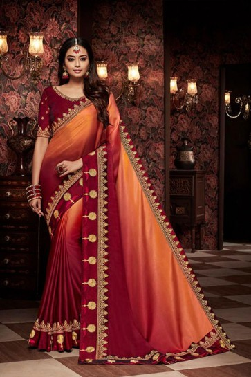 Lovely Maroon Embroidered Fancy Fabric Designer Saree With Fancy Fabric Blouse