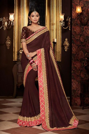 Ultimate Brown Embroidered Fancy Fabric Designer Saree With Fancy Fabric Blouse