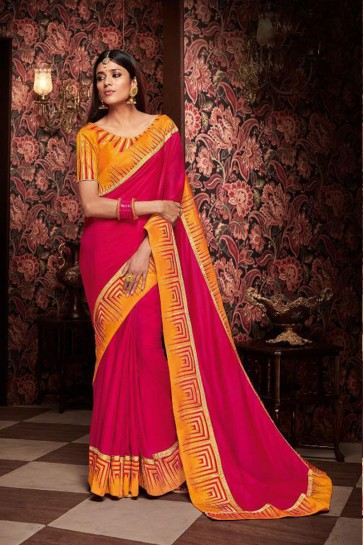 Excellent Magenta Embroidered Fancy Fabric Designer Saree With Fancy Fabric Blouse