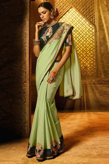 Stylish Green Silk Lace Work Saree With Silk Blouse