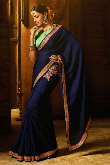 Supreme Navy Blue Silk Lace Work Saree With Silk Blouse