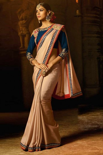 Lovely Peach Silk Lace Work Saree With Silk Blouse