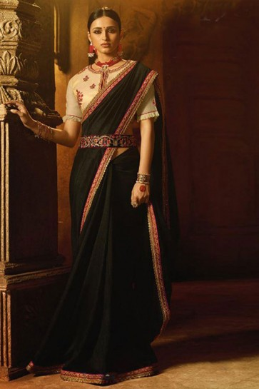 Graceful Black Silk Lace Work Saree With Silk Blouse