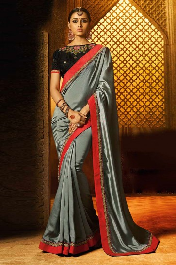 Ultimate Grey Silk Lace Work Saree With Silk Blouse