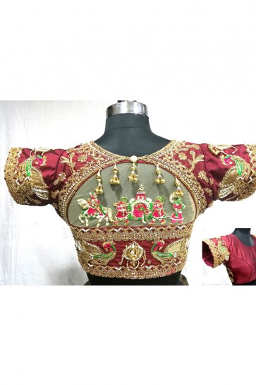 Supreme Maroon Silk Handwork Blouse