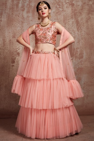 Pretty Peach Sequins Work And Zari Work Lehenga Choli With Net Dupatta