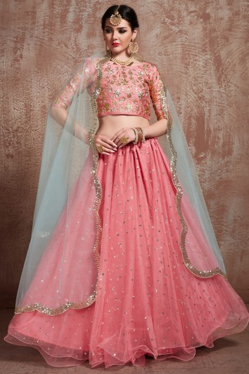 Marvelous Zari Work And Sequins Work Pink Lehenga Choli With Net Dupatta