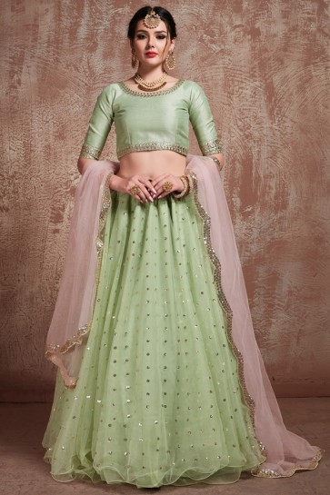 Pista Net Fabric Sequins Work Designer Lehenga With Embroidery Work Blouse