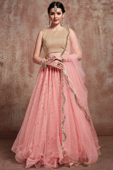 Party Wear Zari Work Designer Baby Pink Lehenga Choli With Net Dupatta