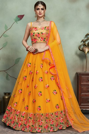 Beautiful Mustard Sequins And Thread Work Net Lehenga Choli And Dupatta