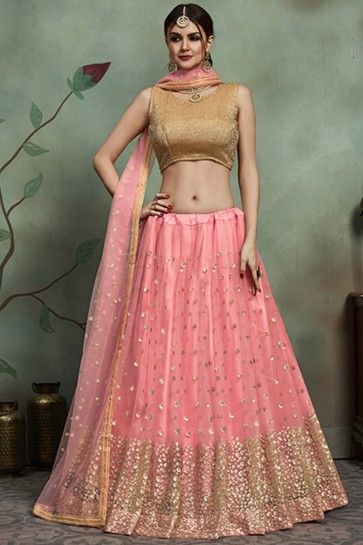 Appealing Sequins Work Baby Pink Net Designer Lehenga Choli And Dupatta